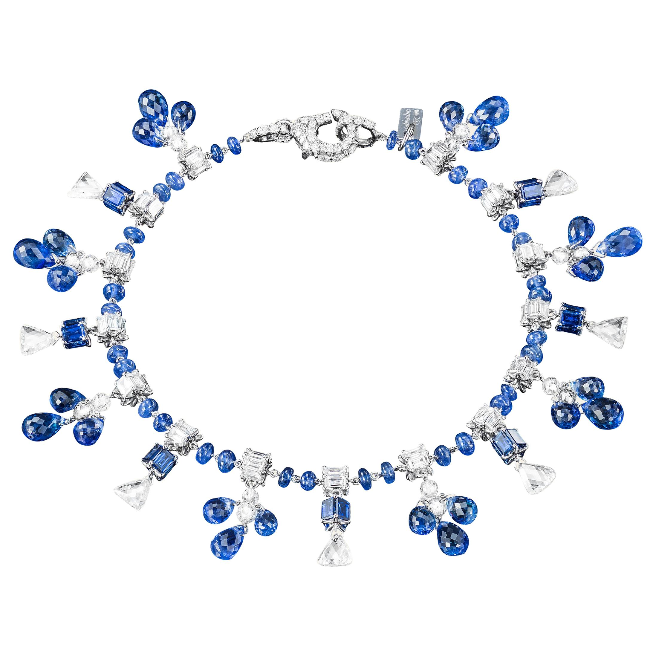 Sabbadini Blue Sapphire and Diamond Charm Bracelet