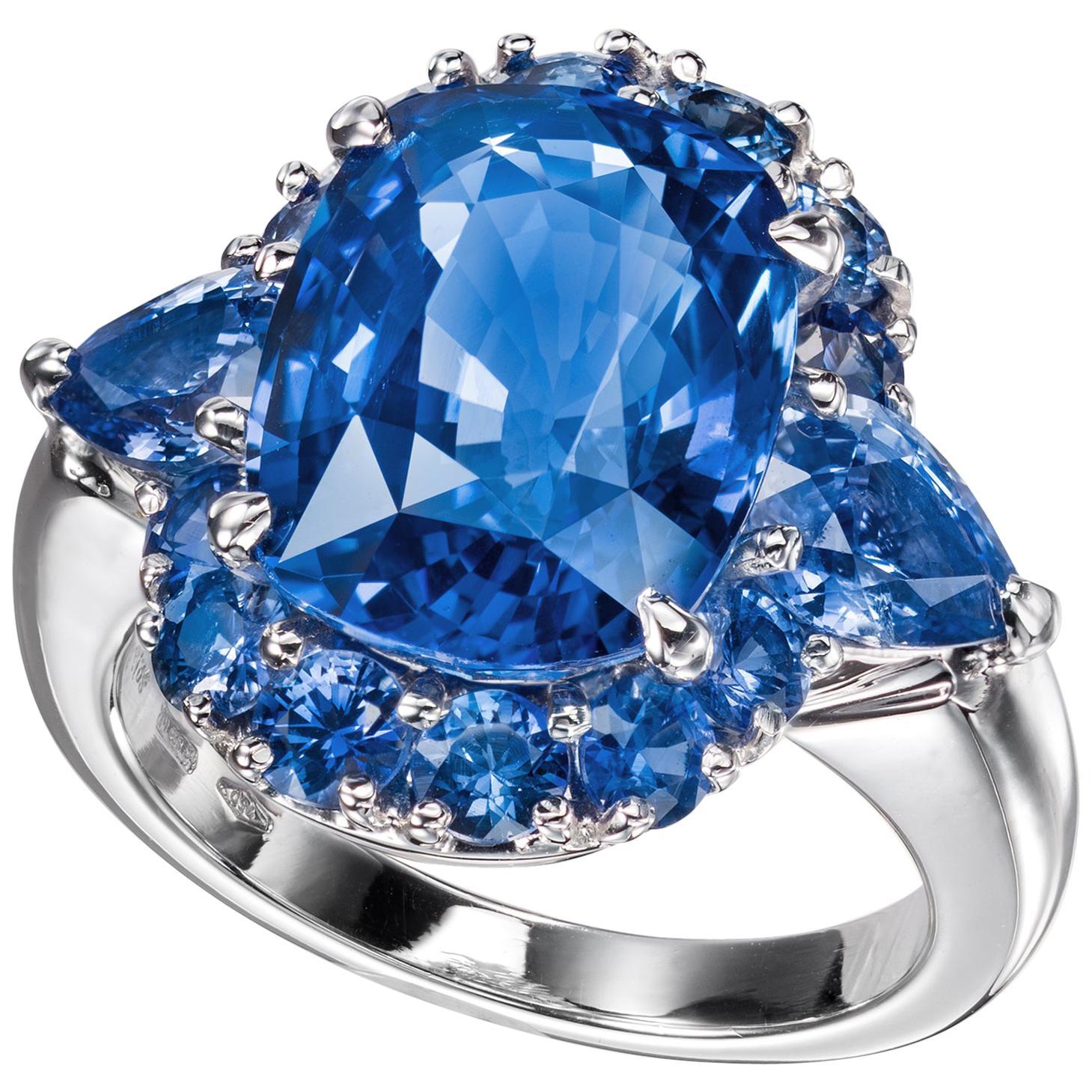 Sabbadini Ceylon Sapphire Cushion Cut Engament Ring