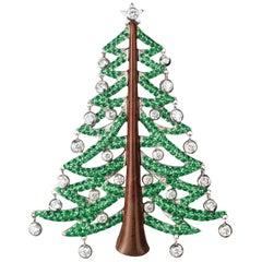 Sabbadini Christmas Tree Brooch in Diamonds and Green Garnets