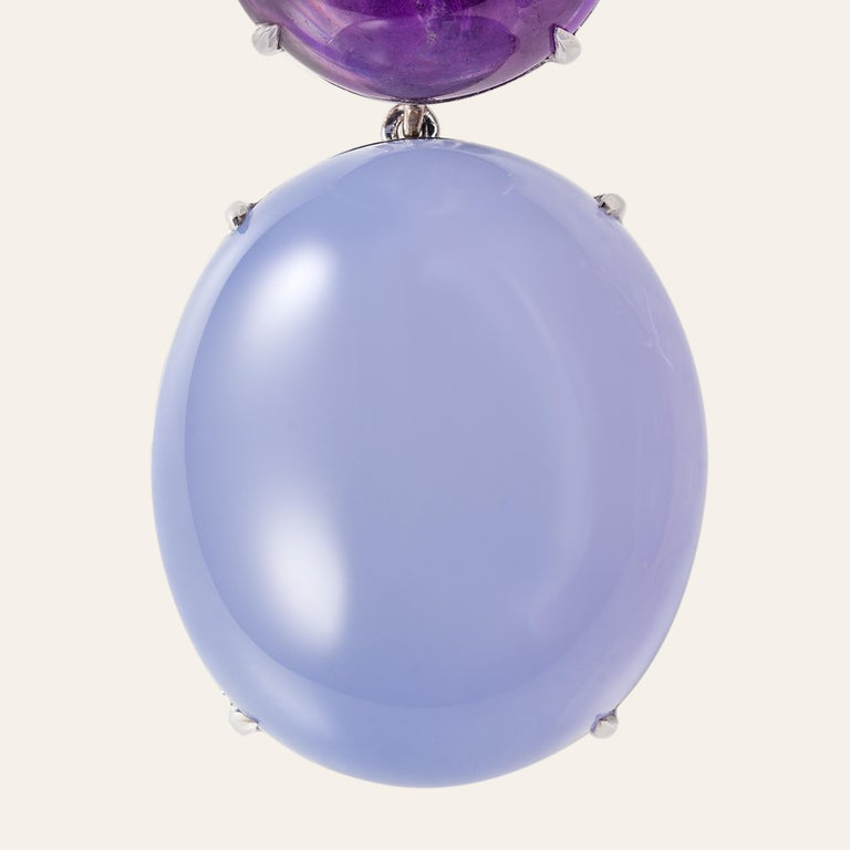Sabbadini Cocktail Earrings with Amethyst and Chalcedony For Sale 1