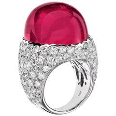 Sabbadini Cocktail Ring with Cabochon Rubelite and Diamonds