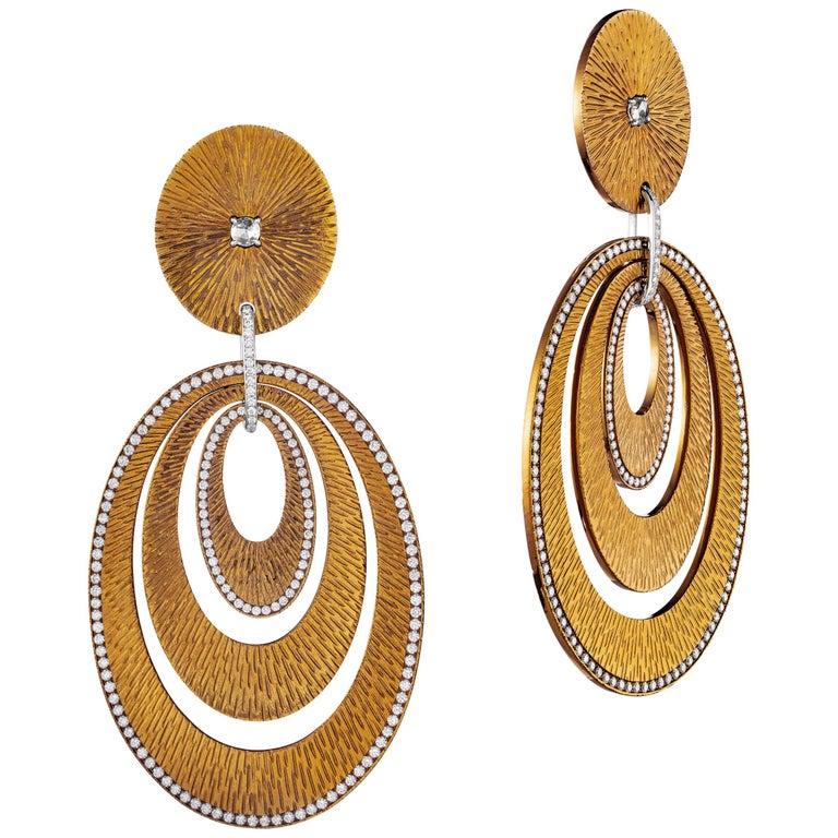 Sabbadini Contemporary Titanium, Gold and Diamond Earrings For Sale