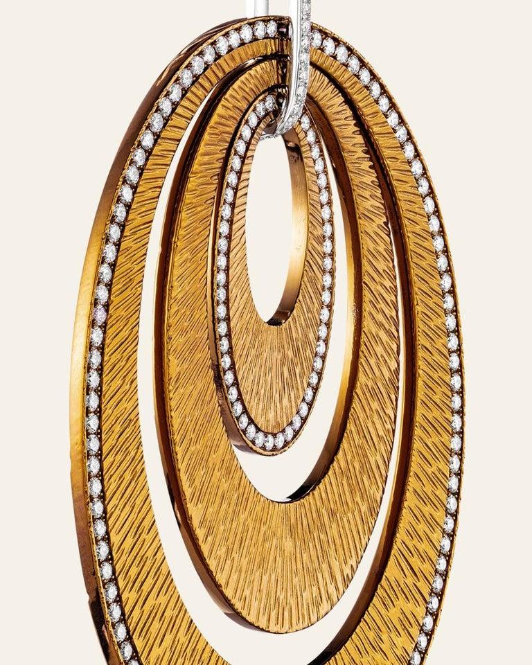 Round Cut Sabbadini Contemporary Titanium, Gold and Diamond Earrings For Sale