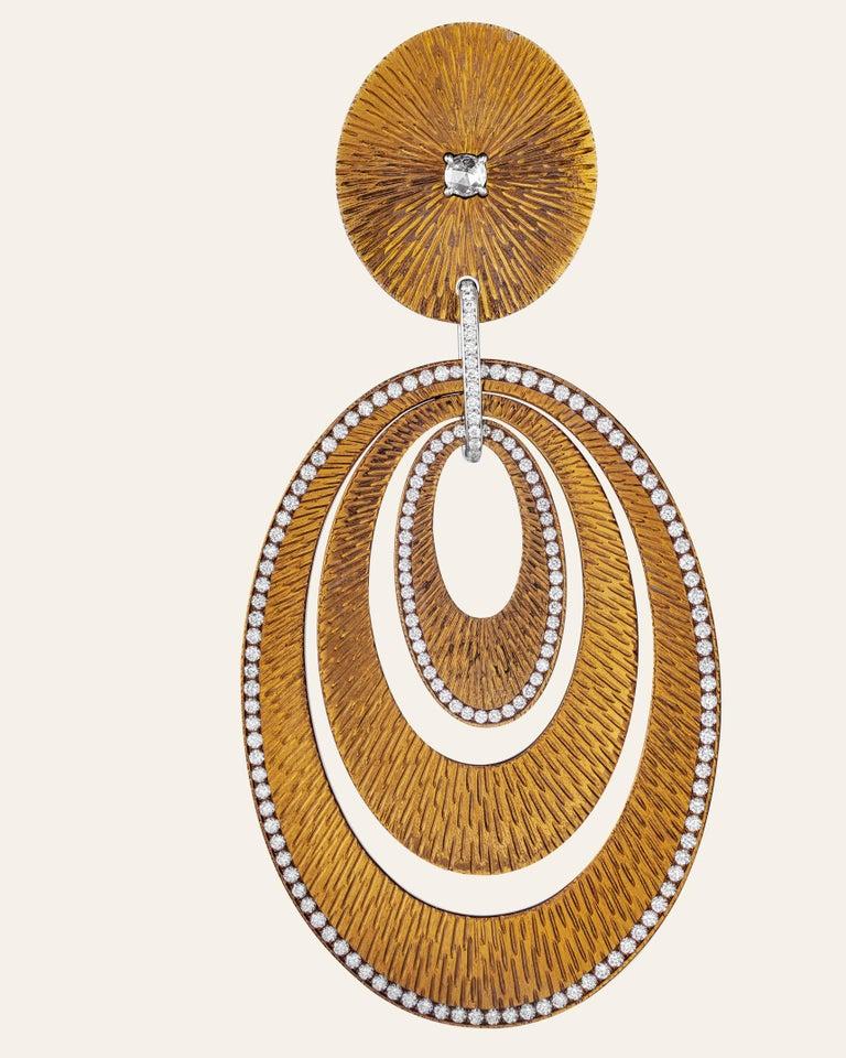 Women's Sabbadini Contemporary Titanium, Gold and Diamond Earrings For Sale