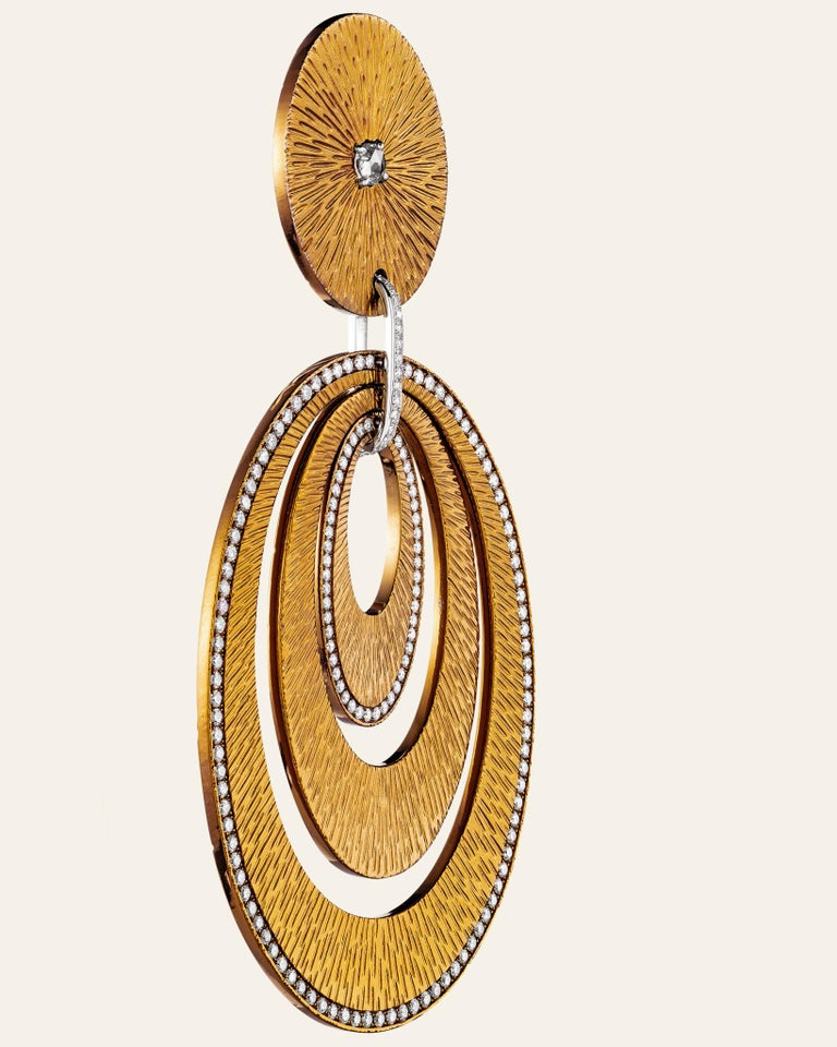 Sabbadini Contemporary Titanium, Gold and Diamond Earrings For Sale 1