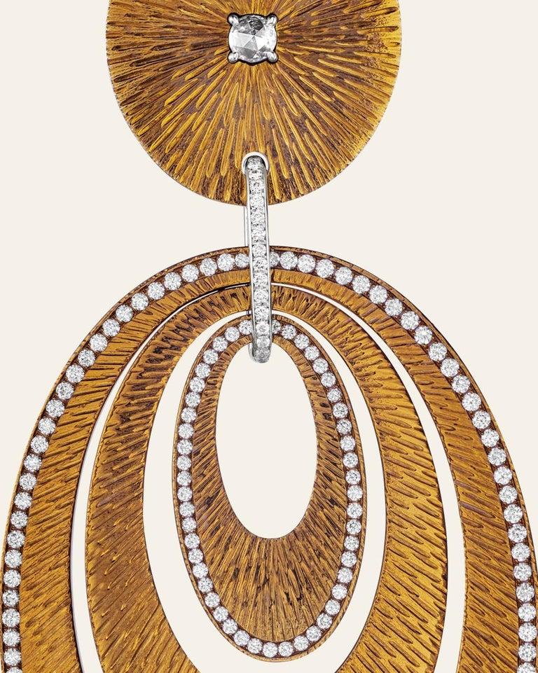 Sabbadini Contemporary Titanium, Gold and Diamond Earrings For Sale 2