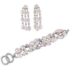 Sabbadini Diamond Pearl Bracelet Earrings Suite
