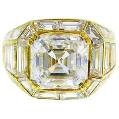 Sabbadini Diamond Yellow Gold Ring, 3.23 Carat GIA