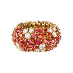 Sabbadini Flexible Orange Sapphire & Diamond Band Ring