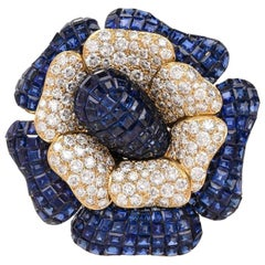 Sabbadini Invisible Mystery Set Sapphire Diamond Flower Brooch Pin