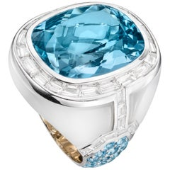 Sabbadini Jewelry Aquamarine and Jade Cocktail Ring