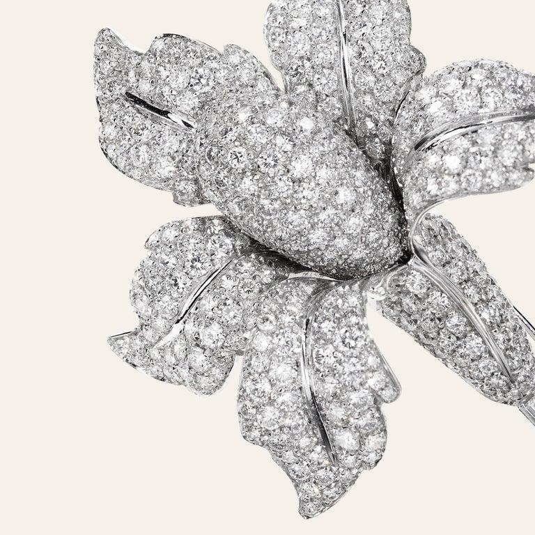 Sabbadini Jewelry Diamond And Platinum Flower Brooch Platinum and 18k white gold calla brooch, diamond pavé 13,70 carats, baguette cut diamonds 0,70 carats  Platinum 81,40grms  gold 10,50 grams Made In Italy Via Montenapoleone
