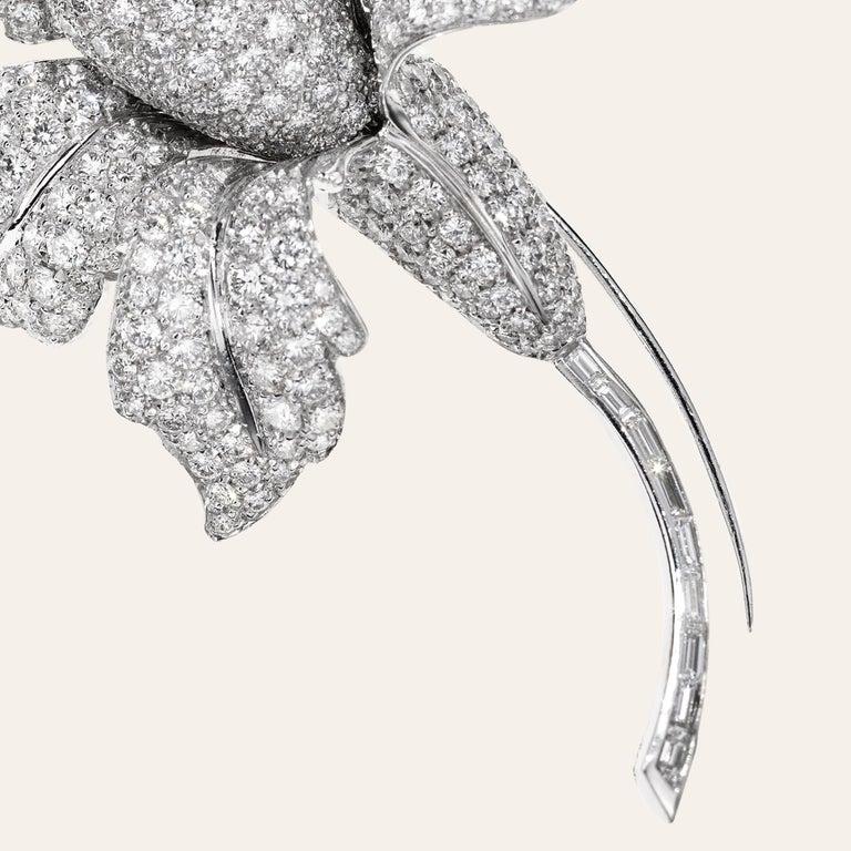 Baguette Cut Sabbadini Jewelry Diamond and Platinum Flower Brooch For Sale