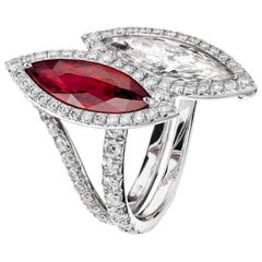 Sabbadini GIA Certified Diamond and Certified Natural Unheated Vivid Red Ruby Ri