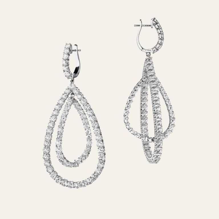 Sabbadini Mobile Diamond Dangle Earrings 18k White gold earrings, round cut diamonds 14,95 carats.  Gold 20,55 grams Made In Italy Handmade Jewelry Italian Jewelry