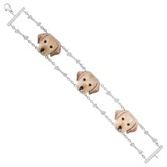 Sabbadini Jewelry Dog Bracelet in White Gold, Silver and Diamonds, Labrador