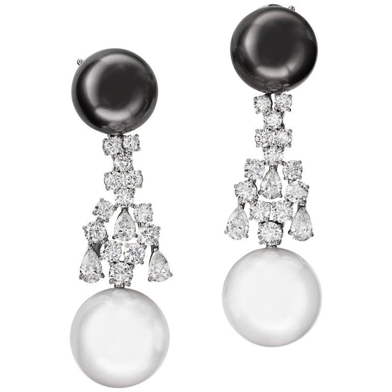 Sabbadini Jewelry Pearl and Diamond Long Earring For Sale