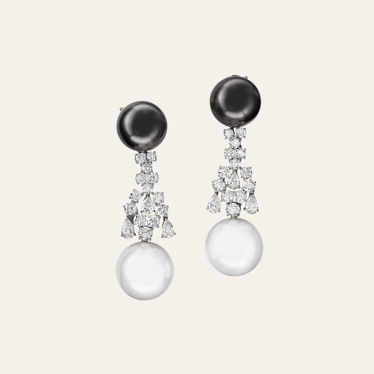 Round Cut Sabbadini Jewelry Pearl and Diamond Long Earring For Sale