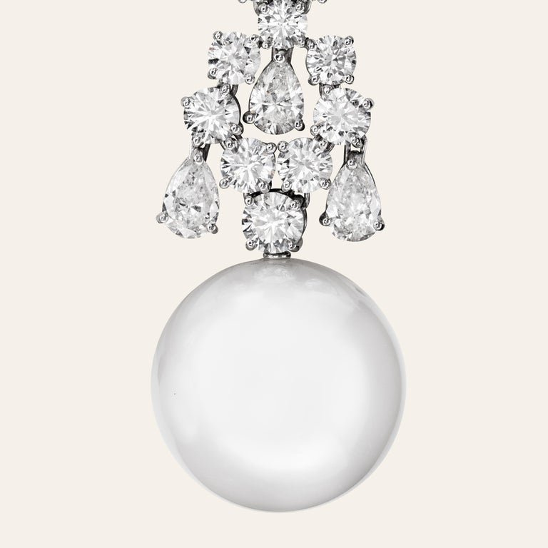 Sabbadini Jewelry Pearl and Diamond Long Earring In New Condition For Sale In Milan, IT