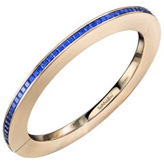 Sabbadini Jewelry Rose Gold and Blue Sapphire Bangle Bracelet