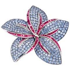 Sabbadini Light Blue Sapphire, Invisible Setting Flower Brooch