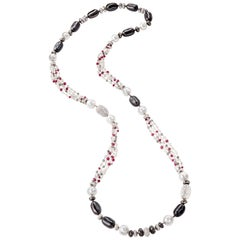Sabbadini Long Necklace with Pearls, Diamonds and Rubies