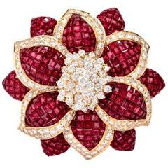 Sabbadini Mystery Set Ruby Diamond Flower Brooch Pin