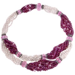 Sabbadini Pearl and Rubies Beaded Chocker Necklace