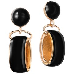 Sabbadini Pendant Earrings in Black Laquer & Pink Gold