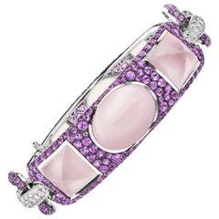 Sabbadini Pink Quartz and Sapphire Cuff Bracelet