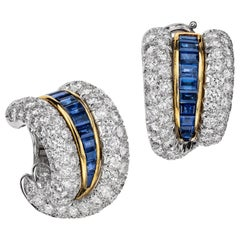 Sabbadini Platinum and Diamond Earrings with Blue Sapphires