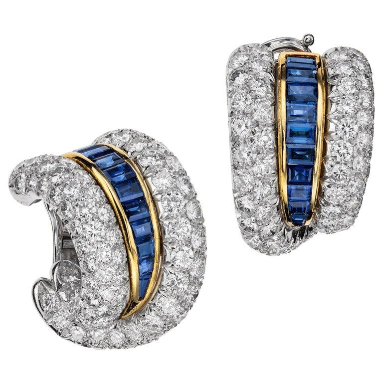 Sabbadini Platinum and Diamond Earrings with Blue Sapphires For Sale