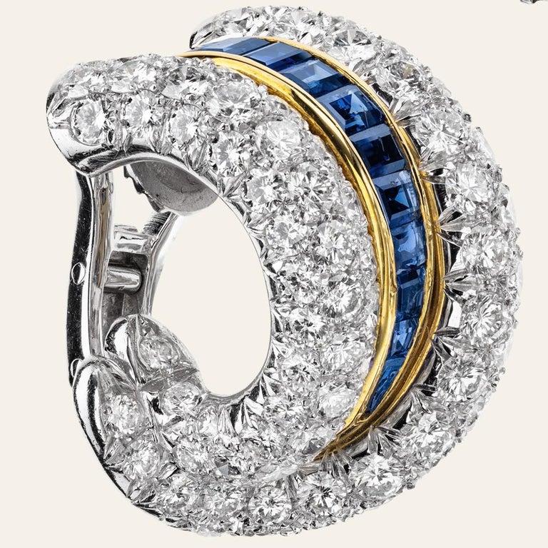 Sabbadini Platinum & Diamond Earrings With Blue Sapphires  Platinum and 18k white gold earrings, round cut diamonds 14,22 carats. Blue Sapphires 3,48 carats. Platinum 28,30gr gold 8,30gr. Handmade jewelry & designed in Milan, in Via