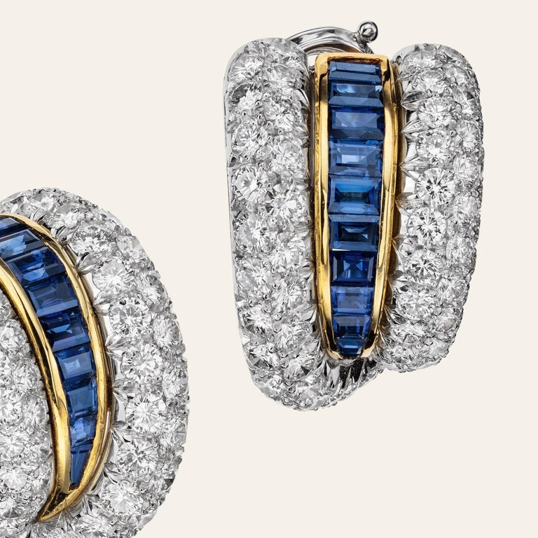Modern Sabbadini Platinum and Diamond Earrings with Blue Sapphires For Sale