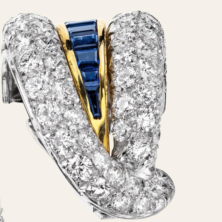Round Cut Sabbadini Platinum and Diamond Earrings with Blue Sapphires For Sale