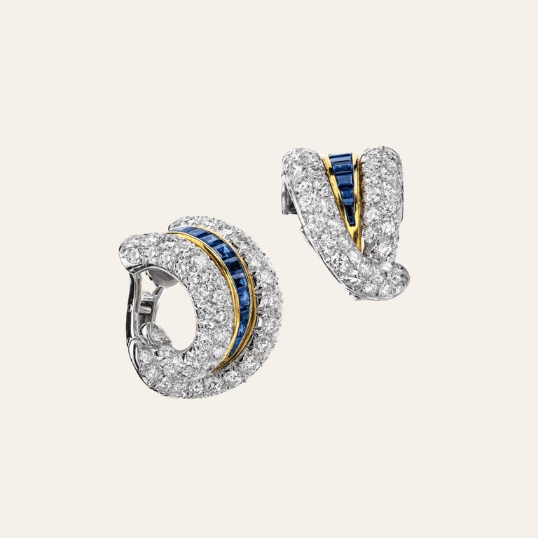 Sabbadini Platinum and Diamond Earrings with Blue Sapphires In New Condition For Sale In Milan, IT