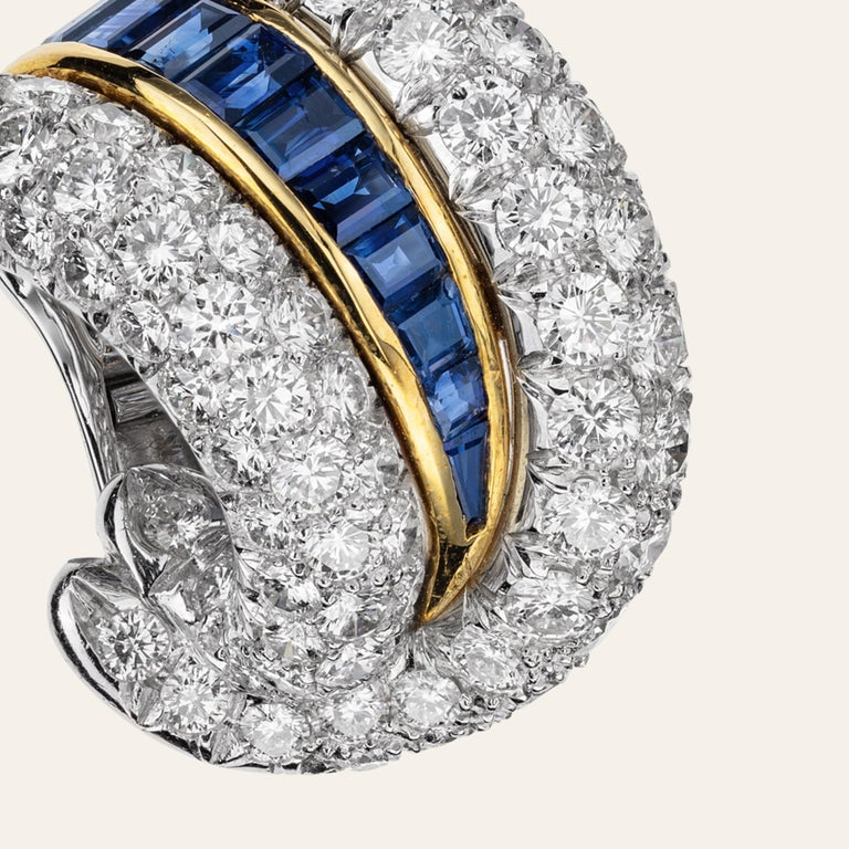 Women's Sabbadini Platinum and Diamond Earrings with Blue Sapphires For Sale