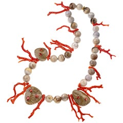 Sabbadini Red Coral and Opal Beaded Necklace