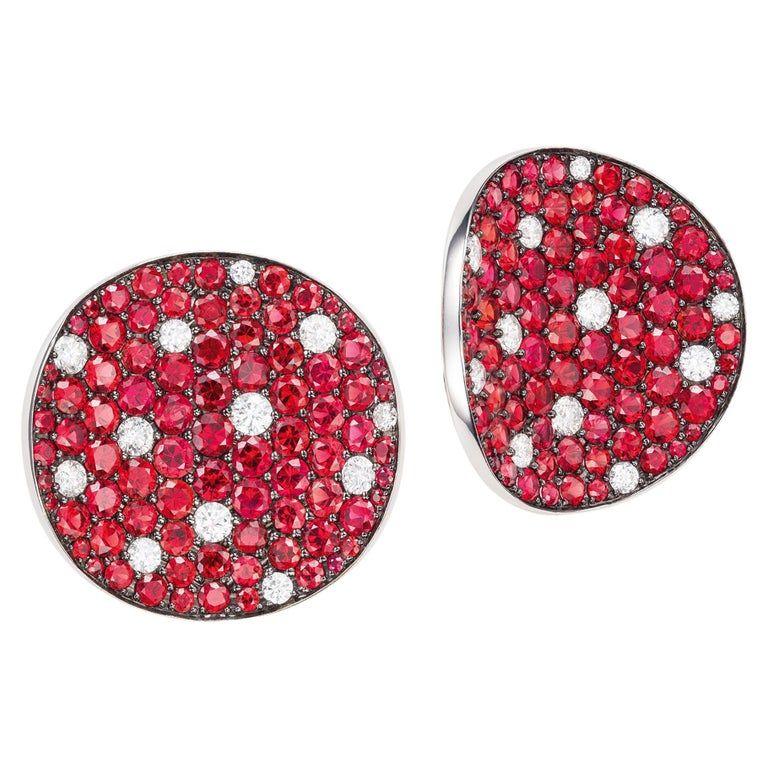 Sabbadini Red Sapphire and Diamond Round Earrings For Sale