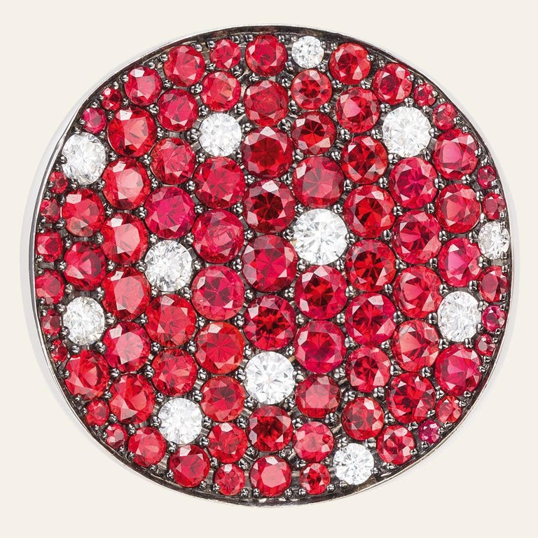 Contemporary Sabbadini Red Sapphire and Diamond Round Earrings For Sale