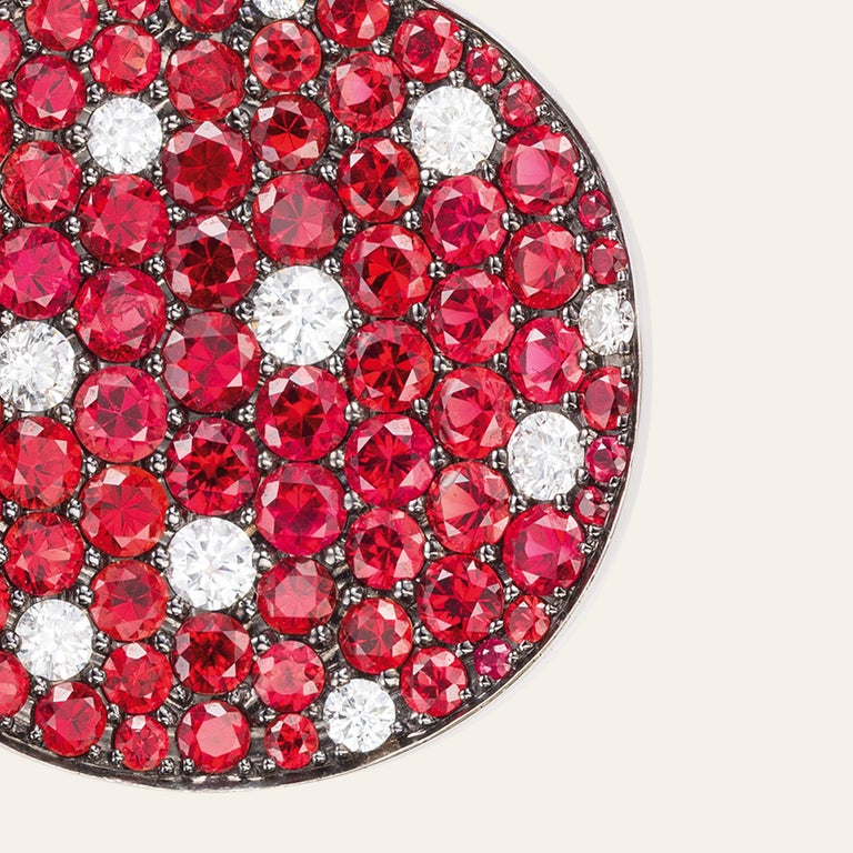 Round Cut Sabbadini Red Sapphire and Diamond Round Earrings For Sale