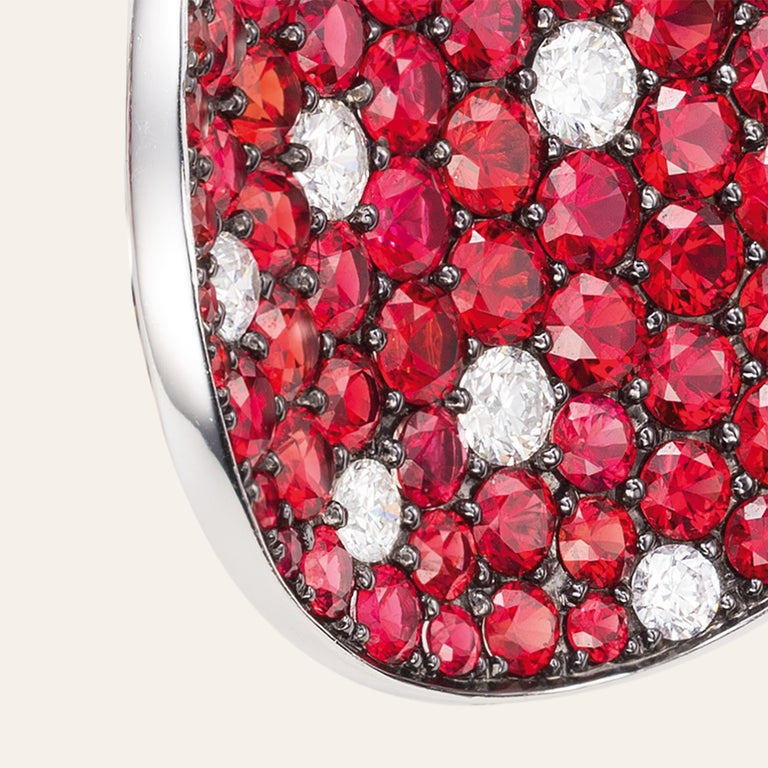 Sabbadini Red Sapphire and Diamond Round Earrings In New Condition For Sale In Milan, IT