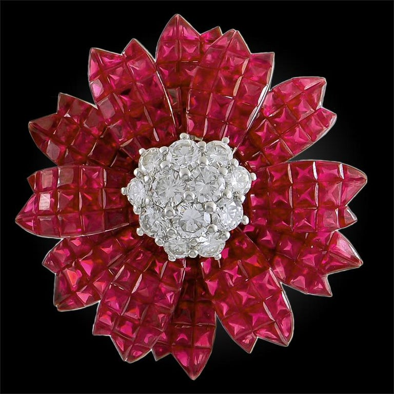 Square Cut Sabbadini Ruby Diamond Invisible Set Flower Earrings For Sale