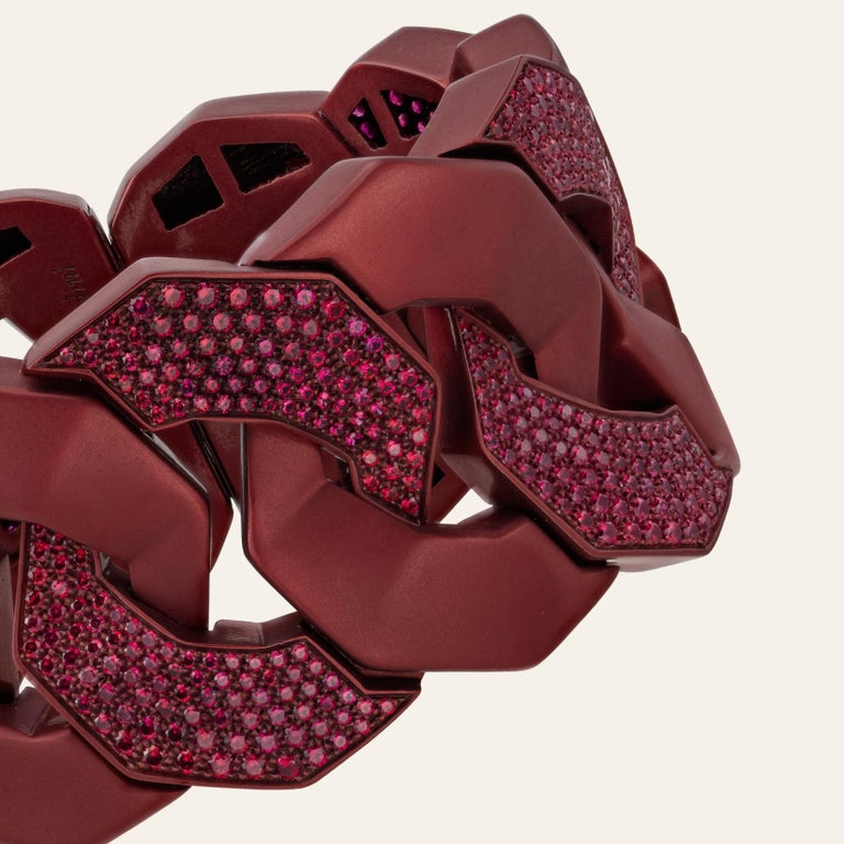 Contemporary Sabbadini Titanium and Rubies Dark Red Cuff Bracelet For Sale