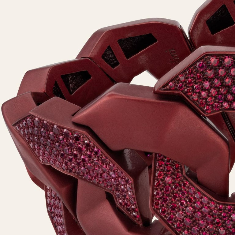 Round Cut Sabbadini Titanium and Rubies Dark Red Cuff Bracelet For Sale