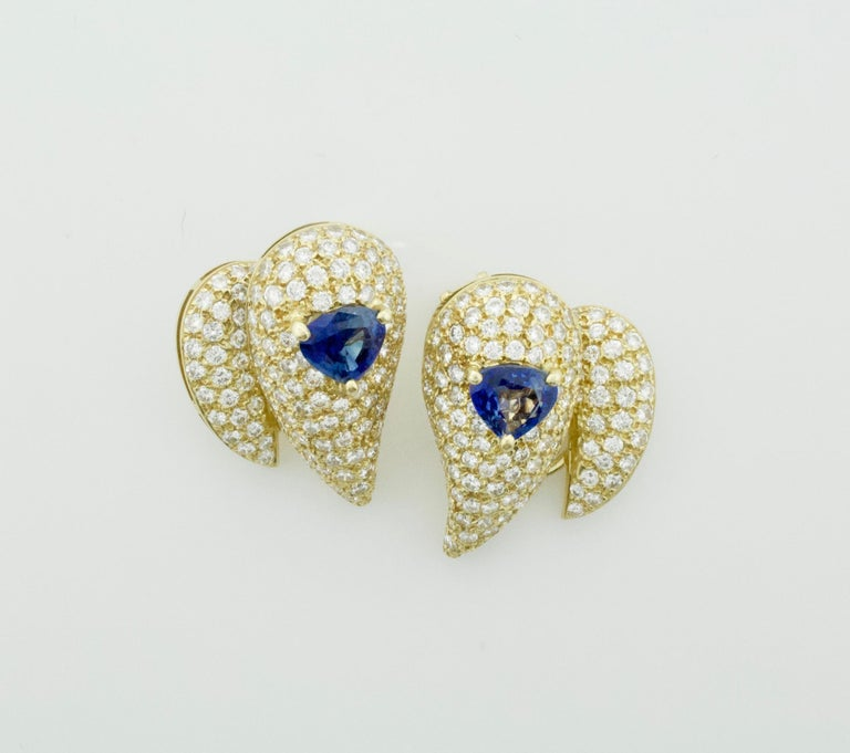 Sabbadini Unique Sapphire and Diamond Earrings in 18k Sap = 3.00 Dia = 7.00 cts. Two Fancy Cut Sapphires Weighing 3.00 Carats Approximately [bright with no imperfections visible to the naked eye] Two Hundred and Fifty Eight Round Brilliant Cut