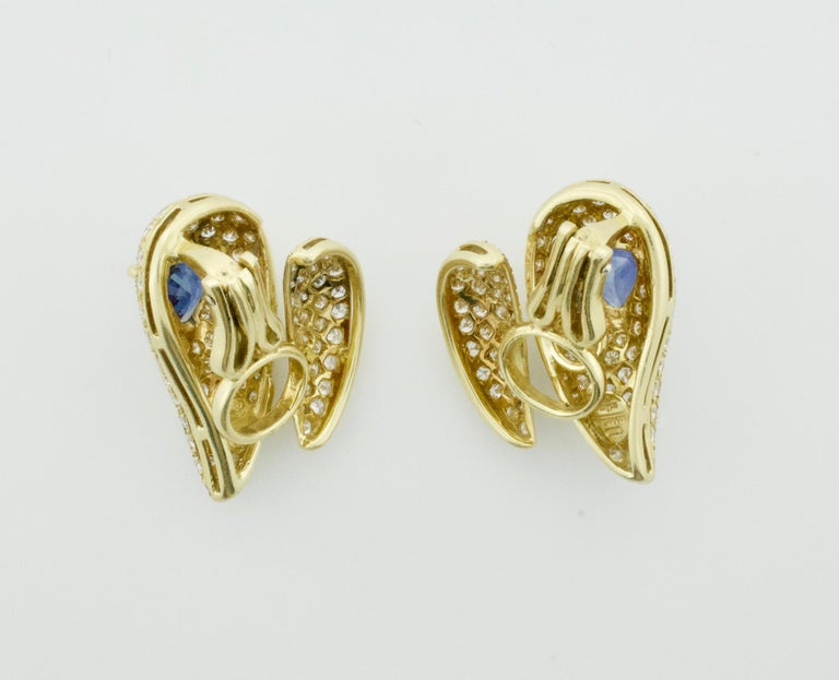 Modern Sabbadini Unique Sapphire and Diamond Earrings in 18k Sap = 3.00 Dia = 7.00 cts. For Sale