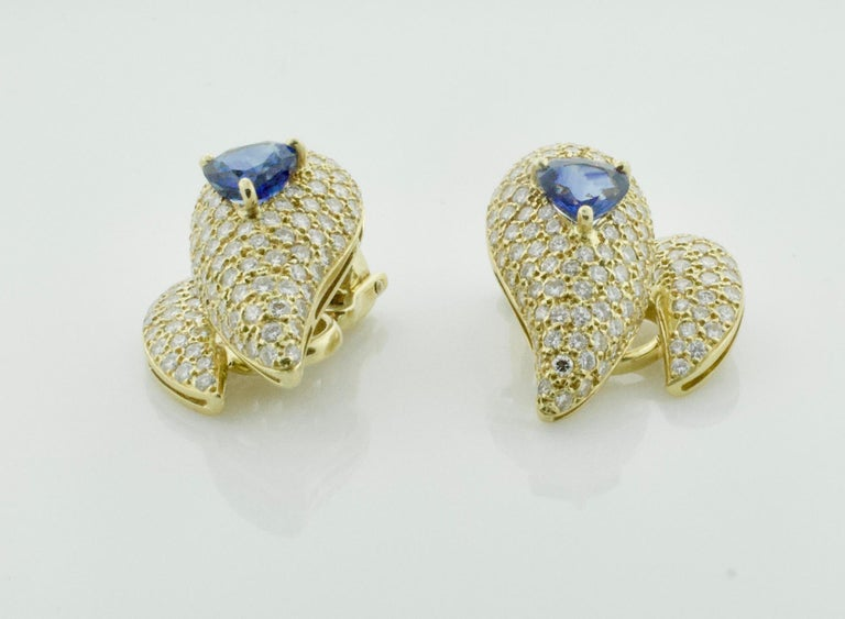 Round Cut Sabbadini Unique Sapphire and Diamond Earrings in 18k Sap = 3.00 Dia = 7.00 cts. For Sale