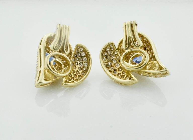 Sabbadini Unique Sapphire and Diamond Earrings in 18k Sap = 3.00 Dia = 7.00 cts. In Excellent Condition For Sale In Wailea, HI