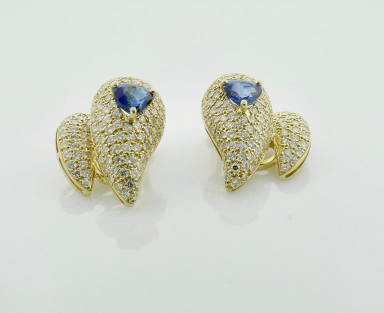 Women's or Men's Sabbadini Unique Sapphire and Diamond Earrings in 18k Sap = 3.00 Dia = 7.00 cts. For Sale
